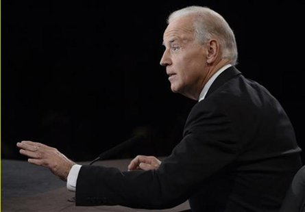 U.S. Vice President Joe Biden speaks during the vice presidential debate with Republican vice presidential nominee Paul Ryan (not pictured)