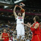 Kevin Love of the U.S. dunks against Spain during their men's gold medal basketball match at the North Greenwich Arena in London during the