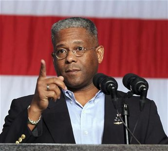 Allen West, U.S. House of Representatives for District 22 in Florida, speaks at a rally for employees from Pratt & Whitney and Sikorsky to c