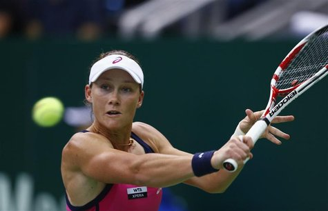Australia's Samantha Stosur hits a return against Serbia's Ana Ivanovic during their Kremlin Cup semifinal tennis match in Moscow October 20