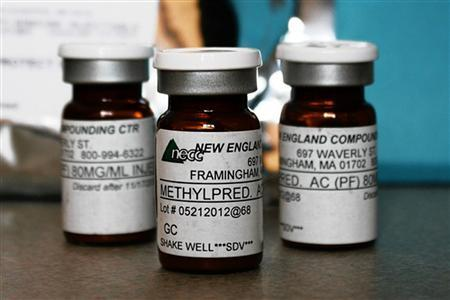 Vials of the steroid distributed by New England Compounding Center (NECC) - implicated in a meningitis outbreak - are pictured in this undated handout photo obtained by Reuters October 14, 2012. Credit: Reuters/Minnesota Department of Health/Handout.