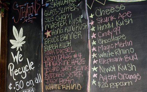 The current varieties of marijuana available for sale are seen written on a chalkboard at a medical marijuana center in Denver April 2, 2012