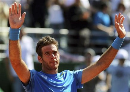 Juan Martin Del Potro of Argentina reacts after winning his Davis Cup World Group match against Radek Stepanek of Czech Republic in Buenos A
