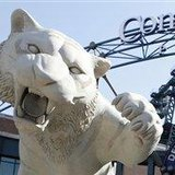 The symbol of the Detroit Tigers outside of their home at Comerica Park.