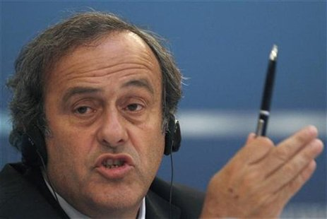 UEFA President Michel Platini speaks during a news conference after a meeting, held by the UEFA Executive Committee, in St. Petersburg Octob