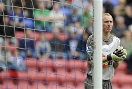 File picture of Chris Kirkland during an English Premier League soccer match against Chelsea in Wigan, northern England, September 26, 2009.
