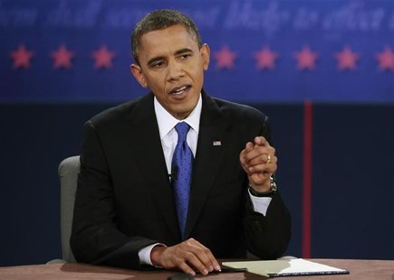 U.S. President Barack Obama makes a point during the final U.S. presidential debate in Boca Raton, Florida, October 22, 2012. REUTERS/Scott