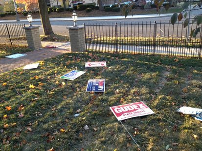 Campaign yard signs damaged (courtesy of watchdog.org).