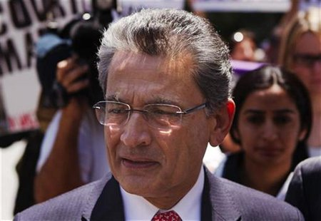 Former Goldman Sachs Group Inc board member Rajat Gupta leaves Manhattan Federal Court following a guilty verdict in his trial in New York J