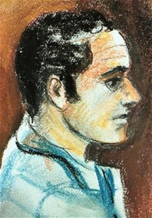 This artist rendering shows Ahmed Ressam, an Algerian man who was arrested transporting bomb-making materials from Victoria, B.C. into Port