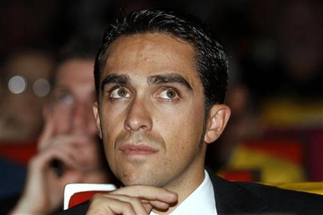Spanish cyclist Alberto Contador attends the presentation of the itinerary of the 2013 Tour de France cycling race in Paris October 24, 2012