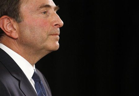NHL commissioner Gary Bettman speaks to the media in New York September 13, 2012. The league and the players collective bargaining agreement