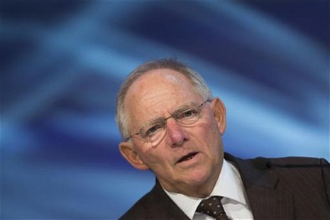 German Finance Minister Wolfgang Schaeuble delivers a speech at the German Engineering Conference (Deutscher Maschinenbau Gipfel) in Berlin,