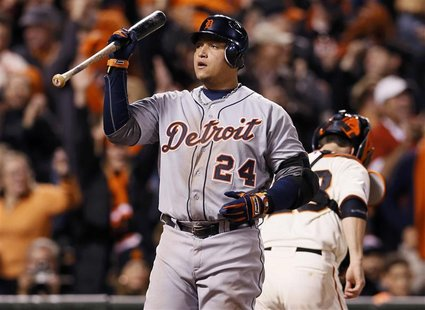 Detroit Tigers' Miguel Cabrera reacts after striking out against the San Francisco Giants in the eighth inning during Game 1 of the MLB Worl