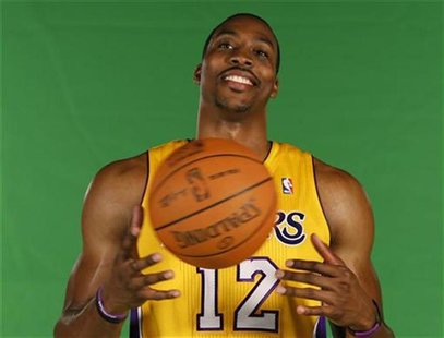 Los Angeles Lakers Dwight Howard poses for a photo during NBA media day for the Los Angeles Lakers basketball team in Los Angeles October 1,