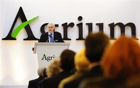 Michael Wilson, president and chief executive officer of Agrium, addresses shareholders at the company's annual general meeting in Calgary,