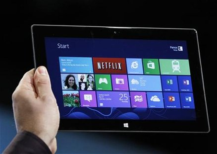 Microsoft tablet PC Surface is shown at the launch event of Windows 8 operating system in New York, October 25, 2012. REUTERS/Lucas Jackson
