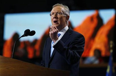 Senate Majority Leader Harry Reid (D-NV) addresses the first session of the Democratic National Convention in Charlotte, North Carolina, Sep
