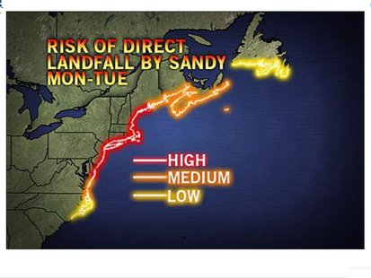Projected landfall estimate for Hurricane Sandy. Source: AccuWeather