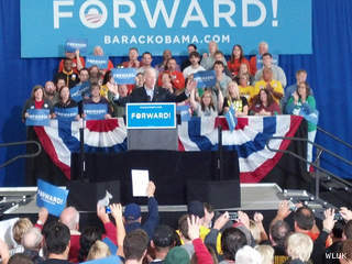 Vice President Joe Biden campaigns at Albee Hall on the University of Wisconsin-Oshkosh campus, Oct. 26, 2012. (courtesy of FOX 11).