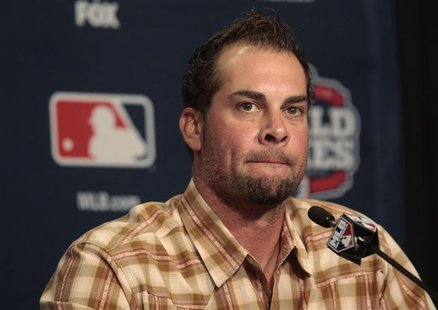 San Francisco Giants pitcher Ryan Vogelsong talks with the media during a news conference at Comerica Park in Detroit, Michigan October 26,