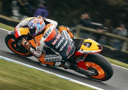 Honda MotoGP rider Casey Stoner of Australia rides during a free practice session ahead of the Australian Motorcycle Grand Prix at Phillip I