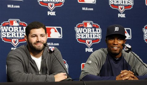 Detroit Tigers catcher Alex Avila (L) and outfielder Austin Jackson talk with the media during a news conference at Comerica Park in Detroit