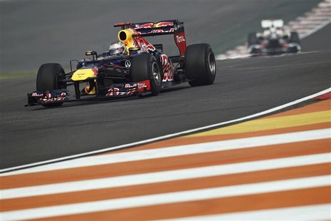 Red Bull Formula One driver Sebastian Vettel of Germany drives during the third practice session of the Indian F1 Grand Prix at the Buddh In
