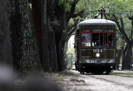 A Street Car travels down St. Charles Ave. in New Orleans in this May 25, 2012 file photo. New Orleans, once crisscrossed by sprawling stree