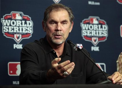 San Francisco Giants manager Bruce Bochy talks with the media during a news conference at Comerica Park in Detroit, Michigan October 26, 201