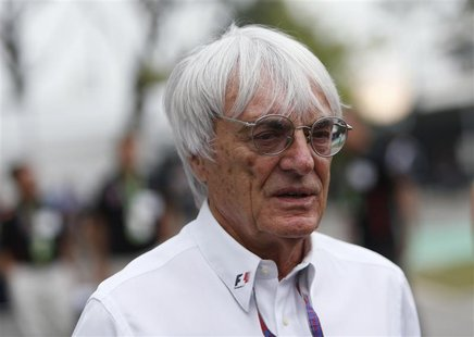 Formula One commercial supremo Bernie Ecclestone is pictured in the paddock ahead of the Singapore F1 Grand Prix at the Marina Bay street ci
