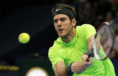 Argentina's Juan Martin del Potro returns the ball during his final match against Switzerland's Roger Federer at the Swiss Indoors ATP tenni