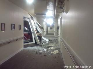 Car crashes into Manitowoc nursing home on Friday October 26, 2012. (courtesy of FOX 11).