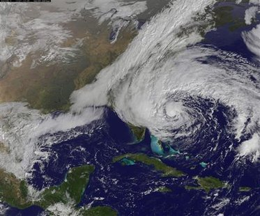 "They are calling this ""Frankenstorm"", partly because its big and scary, partly because it could ruin a lot of trick or treating, and partly because its made up of parts of several storms, all combined into big killer storm. Hurricane Sandy is seen moving up towards the east coast of the United States in this NASA handout satellite image taken on October 27, 2012.  REUTERS/NOAA/NASA/GOES/Handout"