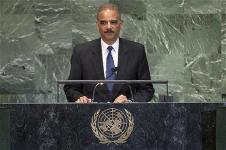 U.S. Attorney General Eric Holder addresses diplomats during the 67th United Nations General Assembly at the U.N. Headquarters in New York,