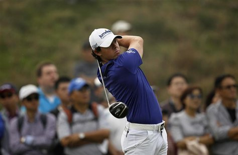 Rory McIlroy of Northern Ireland tees off on the eighth hole during the final round of the BMW Masters 2012 golf tournament at Lake Malaren