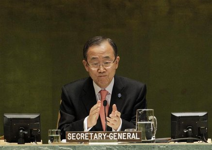U.N. Secretary General Ban Ki-moon opens the high-level meeting on countering nuclear terrorism on the sidelines of the 67th United Nations