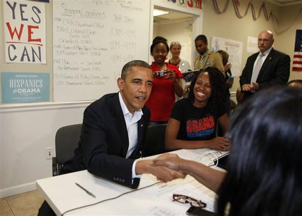 U.S. President Barack Obama shakes hands with volunteers in his campaign field office in Orlando October 28, 2012. REUTERS/Larry Downing