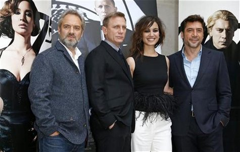 From L-R, director Sam Mendes, actor Daniel Craig, actress Berenice Marlohe and Spanish actor Javier Bardem pose for photographers during a