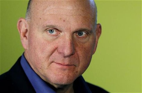 Microsoft CEO Steve Ballmer is seen during an interview prior to the launch event for Microsoft Windows 8 in New York, October 25, 2012. REU