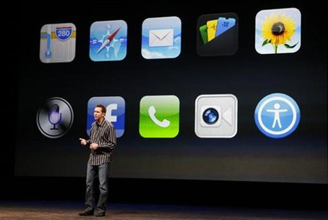 Scott Forstall, senior vice president of iOS Software at Apple Inc, speaks about iPhone5 apps during Apple Inc.'s iPhone media event in San