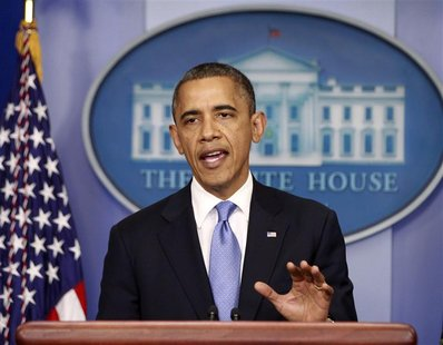 U.S. President Barack Obama delivers a statement on the Hurricane Sandy situation from the press briefing room of the White House in Washing