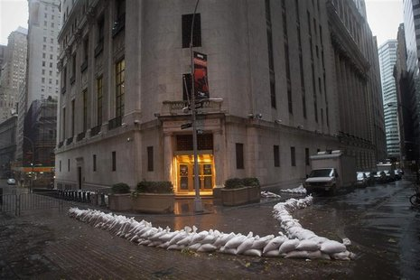 Sandbags block the entrance of the New York Stock Exchange in downtown Manhattan as super storm Sandy made its approach in New York October