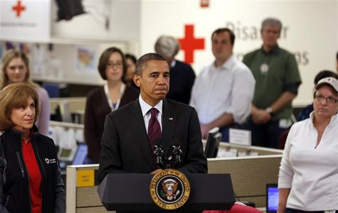 U.S. President Barack Obama speaks while he monitors damage done by Hurricane Sandy at the National Red Cross Headquarters in Washington, Oc