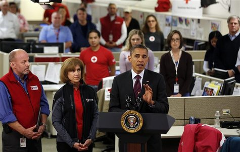 U.S. President Barack Obama speaks about damage done by Hurricane Sandy at the National Red Cross Headquarters in Washington, October 30, 20