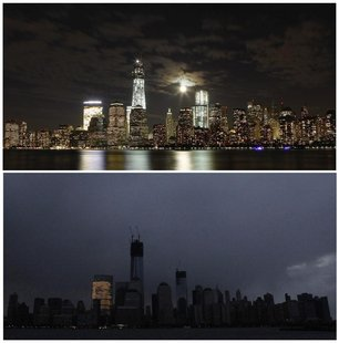 The skyline of New York is pictured at night on October 1, 2012, (top), and pictured in darkness in the early morning hours of October 30, 2