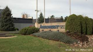 The sign outside of Aarrowcast in Shawano as seen on Tuesday, Oct. 30, 2012. (courtesy of FOX 11).