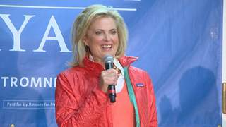 Ann Romney, wife of Republican presidential candidate Mitt Romney, speaks to supporters in Allouez on October 30, 2012. (courtesy of FOX 11).