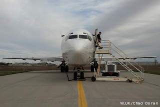 A Boeing 727 airplane donated to Fox Valley Technical College by FedEx is seen at Outagamie County Regional Airport, Oct. 30, 2012. (courtesy of FOX 11).