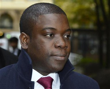 Former UBS trader Kweku Adoboli arrives at Southwark Crown Court in London October 26, 2012. REUTERS/Paul Hackett